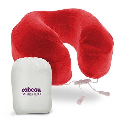 Cabeau Evolution Memory Foam Travel Pillow - The Best Neck Pillow with 360 Head & Neck Support - Crimson