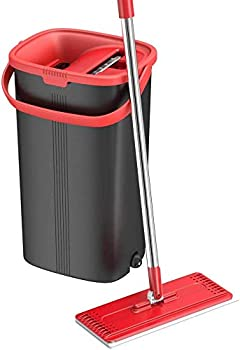 TETHYS Flat Floor Mop and Bucket Set for Professional Home Floor Cleaning System with Aluminum Handle/2-Washable Microfiber Pads Perfect Home + Kitchen Cleaner for Hardwood Laminate Tiles Vinyl