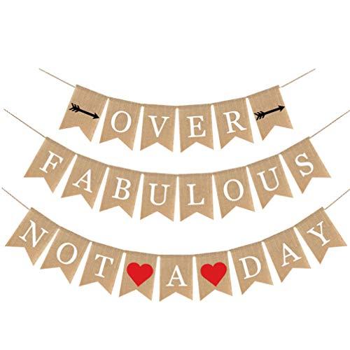 KESYOO Não um Dia Depois de um Fabuloso Banner de Linho Decorativo para Decorações de Bandeiras Penduradas de Festa de Aniversário (Cáqui)
