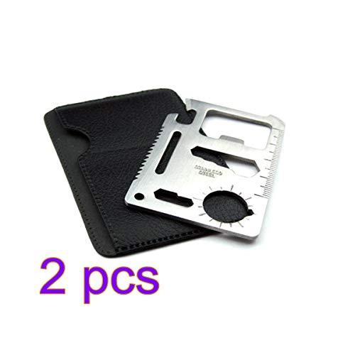 2 stuks mini-tool: creditcard-tool 11-in-1 mini multifunctioneel gereedschap multifunctioneel pocket creditcard mes outdoor roestvrij staal survival gereedschap camping