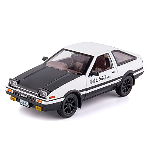 BDTCTK 1/20 Toyota AE86 Initial D Model Car, Zinc Alloy Pull Back Toy car with Sound and Light for Kids Boy Girl Gift (Black)