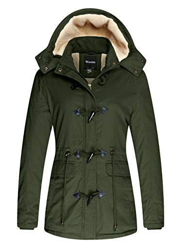 Wantdo Women's Warm Sherpa Lined Hooded Jacket Outdoor Coat Army Green, M
