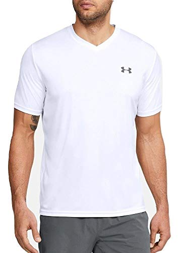 Under Armour Mens V-Neck Tech 2.0 Short Sleeve T-Shirt (White, M)