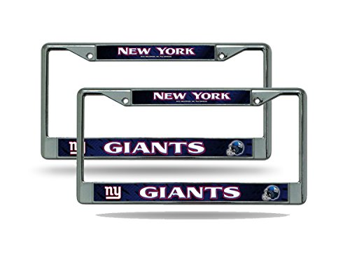 Rico New York NY Giants NFL Chrome Metal (2) License Plate Frame Set