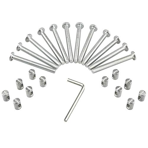 M6 Barrel Bolt Nuts Kit Including M6 x 2.48 inch Barrel Bolts, M6 x 0.49inch Barrel Nuts and 1 x Allen Key, 12 Set for Furniture, Cots, Beds, Crib and Chairs