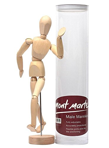 Mont Marte Manikin Male 30cm - Body Doll, Wooden Puppet - Flexible Mannequin as a Model for Drawing - Ideal Painting and Drawing Aid