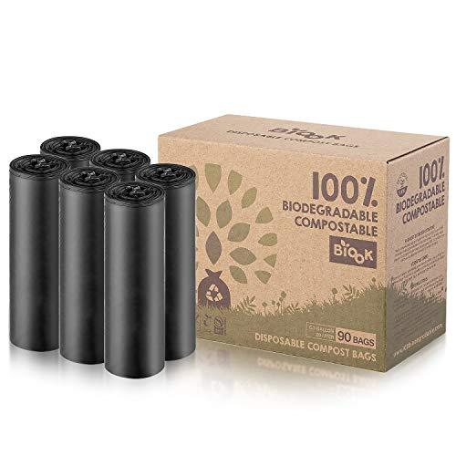 BIOOK Bolsas de basura 100% Compostables, 20L, 90 Bolsas, 25μm, PLA + PBAT-Based Materials Biodegradable, Reciclaje, Fuerte, a prueba de fugas, BPI ASTM D6400 y EN13432 OK Compost Certificación
