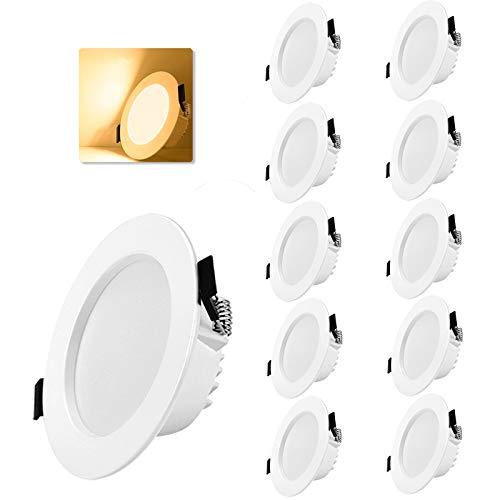 Gr4tec Faretti LED da Incasso 10 x 7W (Equivalenti a 70W) 230V,35mm Faretto Cartongesso Incasso Luce Calda 3000K, IP20 Angolo del Fascio Luminoso 120°, SpotIncassoLed Per Cucina