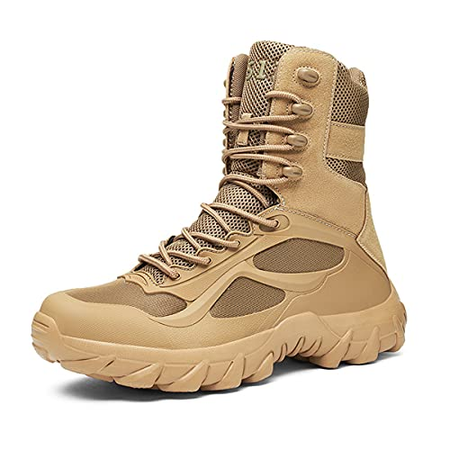 Desert Botas tácticas al aire libre de los hombres Botas militares de alta parte superior antideslizante zapatos de senderismo, Arena 511, 43 EU