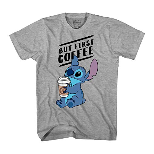 Disney Lilo and Stitch Coffee First Adult T-Shirt (Extra Large, Heather Grey)