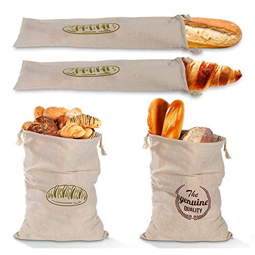Bolsa para el pan, para verduras, de algodón, reutilizable, para guardar el pan, resistente, fácil de lavar, para guardar la compra, congelar, mantener fresco, para frutas, 4 unidades