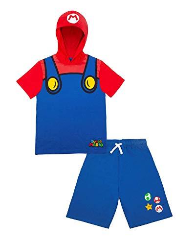 Nintendo Characters Boys Super Mario & Luigi Character Lightweight Short Sleeve Hoodie T-Shirt & Shorts Athleisure Short Set (Blue, 8)