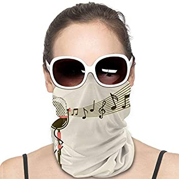 Vintage Microphone Music Note Retro Face Mask Sun-Proof Cover Masks Balaclava Headband Scarf Neck Gaiter Warm Bandana for Cycling Camping Running for Man Women Black