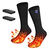 LEADNOVO Heated Socks for Men Women, 3.8V 3800mAh Electric Rechargeable Winter Warm Thermal Heating Socks for Fishing Cycling Skiing Hunting Hiking Climbing(Included Power Bank)