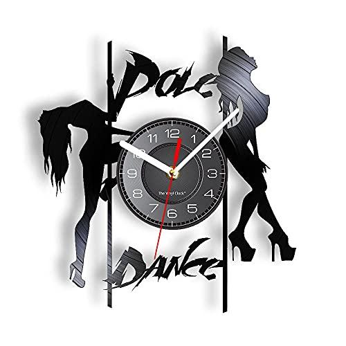 BBZZL Reloj de Pared de Pole Dance Reloj de Pared Retro para Mujer con Tacones Altos y Silueta con luz de Fondo LED Sin LED
