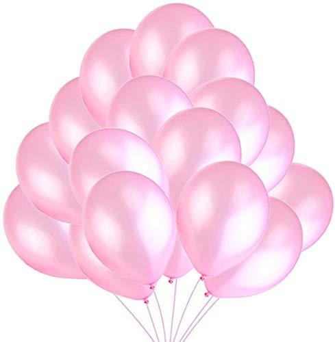 Globos Rosas,100 Piezas Globos Helio Latex Perla Globos Ø 30 cm para Niña Bautizos, Primera Comunion, Cumpleaños, Bodas Aniversario fiesta Rosa Fiesta Arco Decoracion