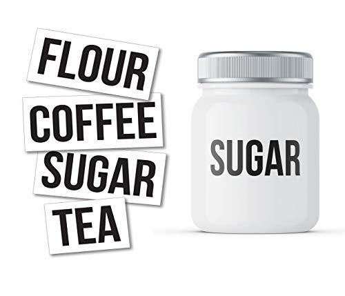 Etiquetas adhesivas de harina, café, azúcar, té para tarros de cocina, organización, paquete de cuatro