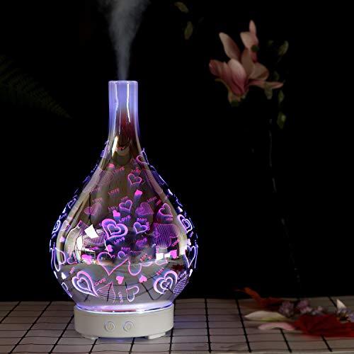 ChagnMi Difusor de Aceite Esencial, humidificador de Niebla fría de aromaterapia, luz Nocturna de Efecto 3D con 7 LED Que cambian de Color, Apagado automático sin Agua, configuración del Temporizador