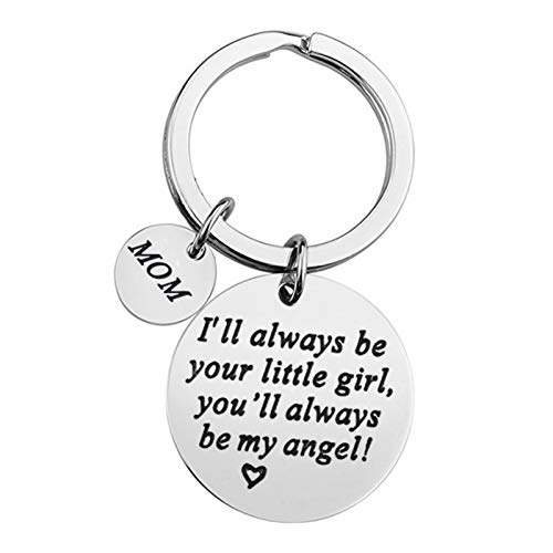 AmDxD Acero Inoxidable Llavero Original Mujer Mom I'll Always be Your Little Girl Llavero Plata Llavero Retro Vintage