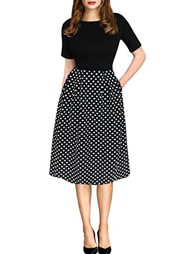 oxiuly Women's Vintage Black Dot Patchwork Pocket Puffy Swing Casual Dress OX165 (L, Black)