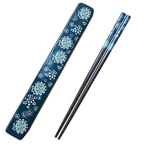 Palillos Japoneses Reutilizables de Madera Natural 1 par con Estuche, Portátil y Apto para Lavavajillas (Azul)