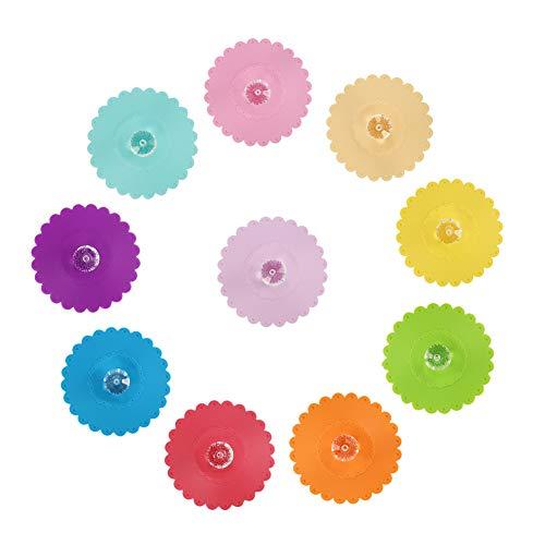 Tagaremuser - 10 tapas de silicona reutilizables para tazas con diseño de diamantes, silicona de grado alimentario, 10 colores