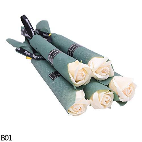 Calayu 5 stuks zeepbloem, rozengeur zeep kunstbloem jubileum bloemenset, cadeau voor verjaardagen, bruiloft, Moederdag 32*3.5cm champagne