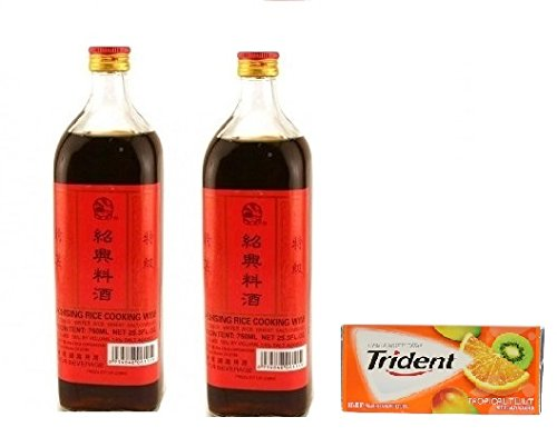Shaohsing Rice Cooking Wine 750ML( Pack of 2)Plus a Free Gift Trident Gum, Tropical Twist Flavor