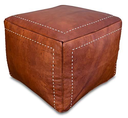 Quadratischer Leder Pouf - Cognac Braun - Handgefertigt - gefüllt geliefert - Ottoman Sitzsack Fußhocker
