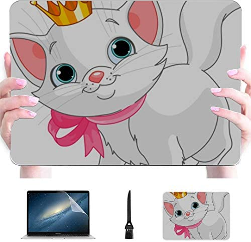 MacBook Air Case 2018 White Kitty with Pink Bow Cartoon Plastic Hard Shell Compatible Mac MacBook product image