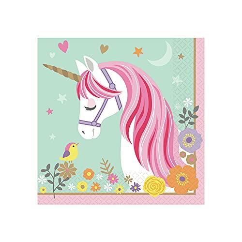Amscan 511929 - Servietten Magical Unicorn, 16 Stück, 33 x 33 cm, Einhorn, Kindergeburtstag, Partygeschirr