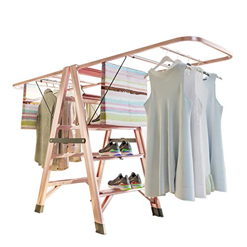 YLiansong-home Tendedero de Ropa Piso a Techo Balcón Secado Estante de aleación de Aluminio Grueso Interior Doblading Dobling Ladder para Interior y Exterior (Color : Rose Gold, Size : One Size)