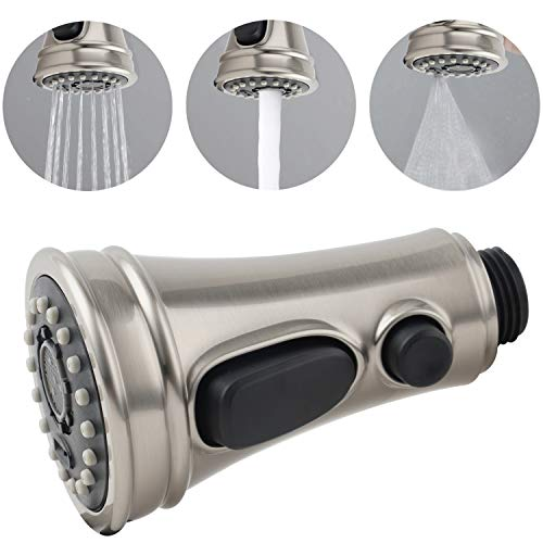 Pull Out Spray Head 3 Modes for Kitchen Sink Faucet, Kitchen Sink Faucet Sprayer Nozzle Head Pull Out Hose Sprayer Replacement Part Kitchen Tap Spout Replacement Part - Brushed Nickel