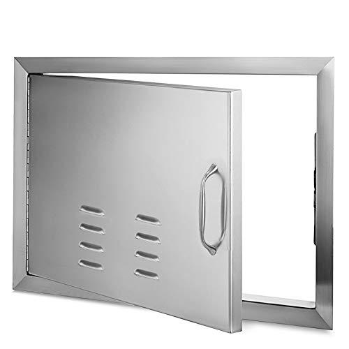 Moracle Puerta de Acceso para Barbacoa 51 x 69 CM Puerta de Isla Horizontal con Orificios de Ventilación Puerta de Acceso Unico de Acero Inoxidable Montaje Empotrado para Cocina al Aire Libre