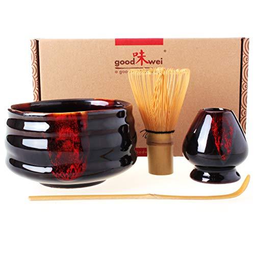 Goodwei Japanisches Matcha Komplett-Set mit hochwertiger Teeschale (Akai, 120)