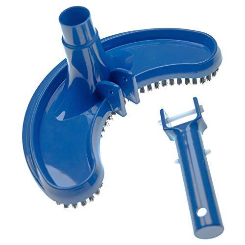 vhbw Aspirador Piscina para conectar a la Bomba, Skimmer -aspiradora con conexión de Manguera de 32/38 mm, semicircular, Negro/Azul