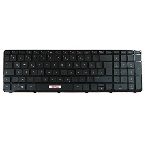 Tastatur - Farbe: Schwarz - mit Rahmen - Deutsches Tastaturlayout kompatibel für HP 250-G3, 255-G2, 255-G3, 256-G2, 256-G3
