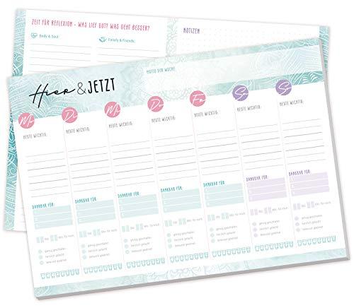 A4 Wochenplaner Block für mehr Achtsamkeit [Hier & Jetzt] 50 Blatt, ohne festes Datum | Mindfulness-Planer - finde dein Glück im Alltag | klimaneutral & nachhaltig