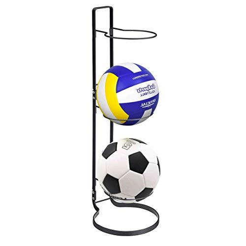 Sports Ball Storage Rack,3 Stack Basketball Storage Holder Freestanding Garage Sport Equipment Organizer Innovative Indoor Removable Vertical Display Stand For Volleyball Football Basketall Black Iron