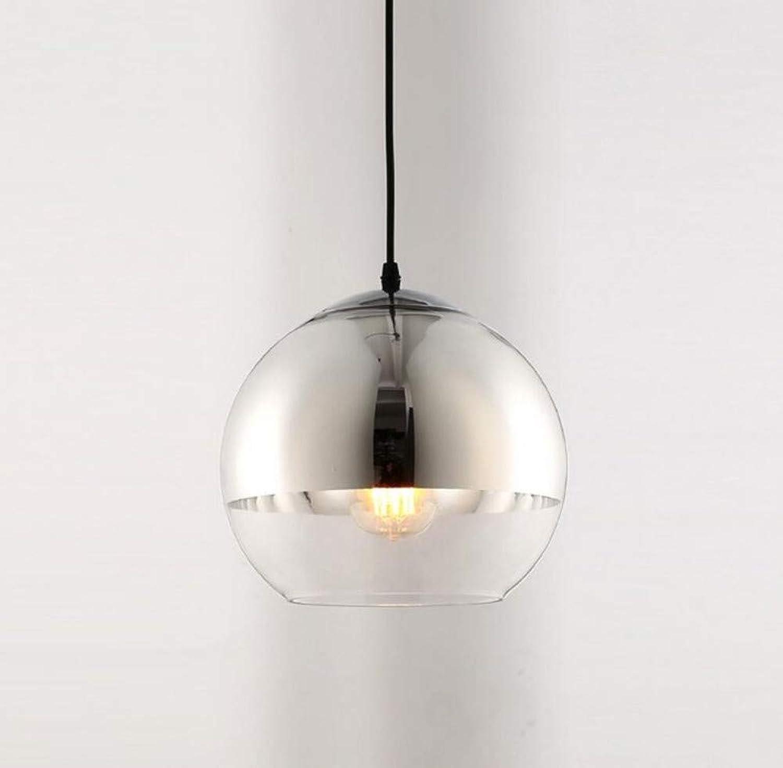 Led Licht Moderne Runde Glas Pendelleuchten Silber E27 1-Light Edison Hngelampe Hhenverstellbar Kronleuchter (Gre  25 Cm)