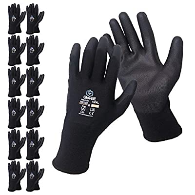 GlovBE 12 Pairs Polyester Work Gloves, Polyurethane (PU) Coated, Black (Medium)