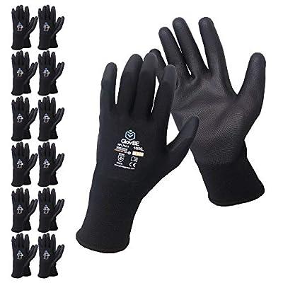 GlovBE 12 Pairs Polyester Work Gloves, Polyurethane (PU) Coated, Black (XL)