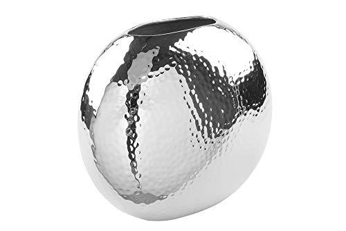 Fink Vase Luna - Metall vernickelt und gehämmert silberfarben H 14,5 cm