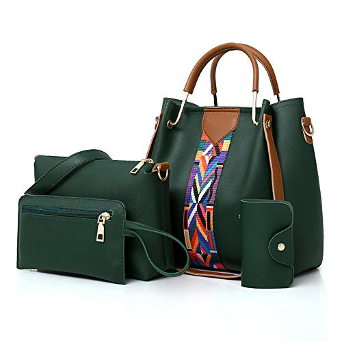 AlwaySky Frauen-Handtaschen-Set 4 in 1 Soft-PU-Leder Top Griff Tasche, Tragetasche, Schultertasche Crossbody Beutel-Geldbeutel-Set (Grün)