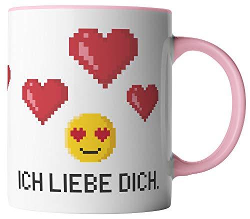 vanVerden Taza – Ich liebe dich Pixel Emoji – Impresión por ambos lados – Idea de regalo para San Valentín – Tazas de café con texto en alemán – Color de la taza: blanco/rosa