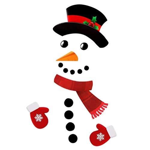 Toyvian - Combinación de pegatinas decorativas navideñas autoadhesivas del muñeco de nieve del cómic para la decoración de la puerta, adhesivo del gabinete del garaje del frigorífico