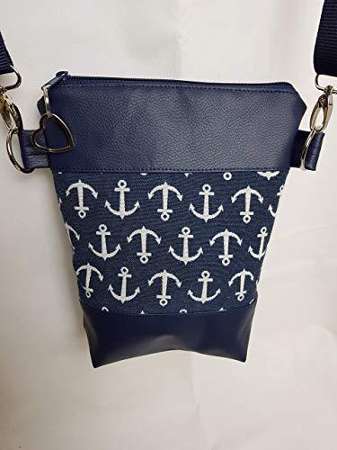 Kleine Handtasche Anker blau Umhängetasche Schultertasche Tasche mit Anhänger handmade Kunstleder