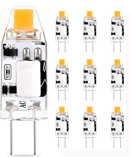 Bombillas LED G4 12V, Blanco Cálido, Reemplazo De 1.2W Para Halógeno de 10W, Bombilla De Luces De Cápsula Sin Parpadeo, AC DC 12V 160LM, No Regulable, Ángulo De Haz De 360°, Paquete De 10 Viaus
