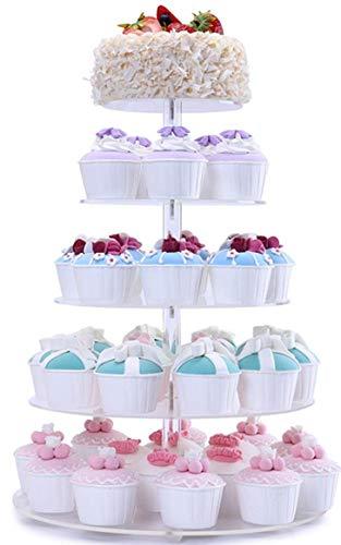 Die Fobuy Cupcake-Ständer aus Acryl mit 5runden Etagen für Hochzeitspartys mit einer Dicke von 4 mm.
