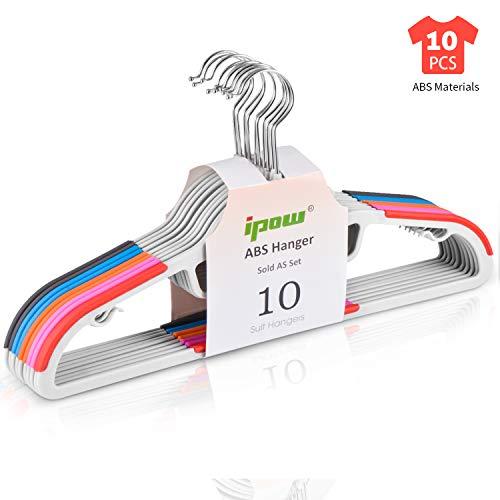 IPOW 10 Stück Farbig Antirutsch Kleiderbügel aus hochwertigem Kunststoff